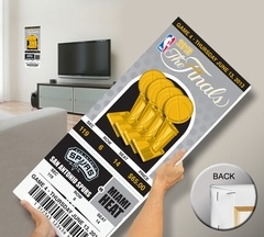 2013 NBA Finals Mega Ticket - San Antonio Spurs. Printed on canvas and stretch mounted. Can be personalized with your exact seat, row, section. Available in two sizes.