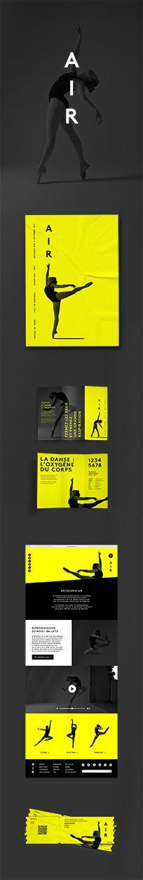 Air, danse, dance, graphic design, festival, website design, poster, leaflet, tickets, yellow, black, gray, Montreal