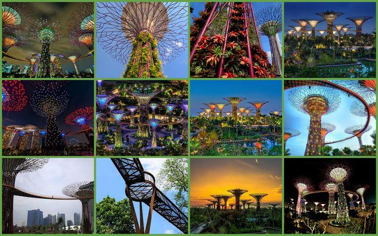 Parque con árboles de metal en Singapur