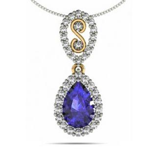 1.05ct Pear Tanzanite Pendant With .39ctw Diamonds in 14k White Gold @ $2036.99.