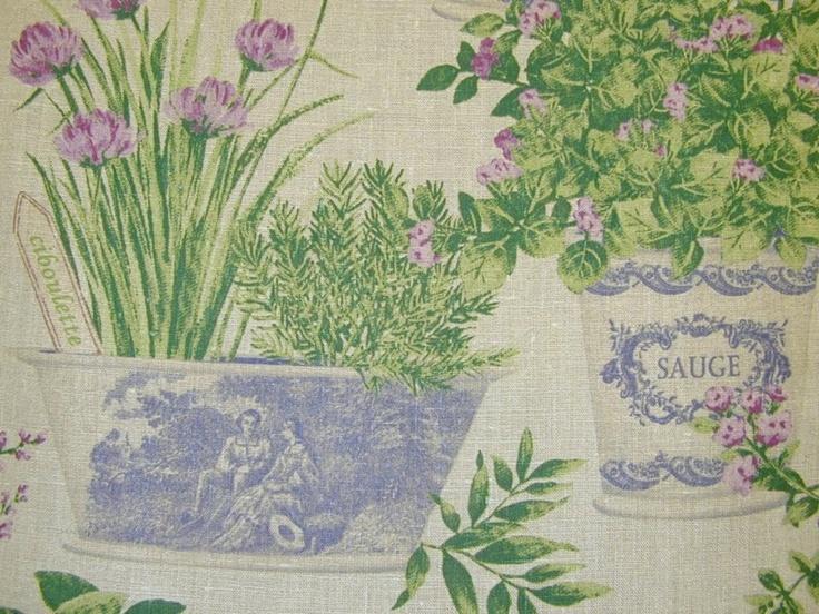 Designer Fabric French Linen Herb Garden Mauve Green Blue