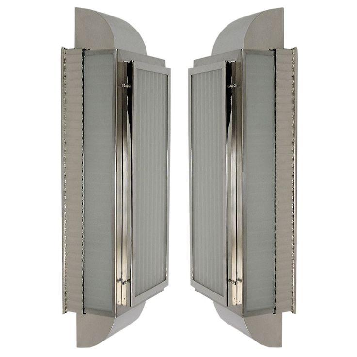 Pair Of Fantastic Streamline Art Deco Sconces Or Ceiling Lights Part 87