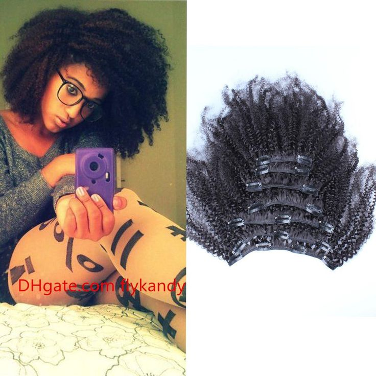 Brazilian Afro Kinky Curly Clip In Hair Extensions 7Pcs Set Coarse