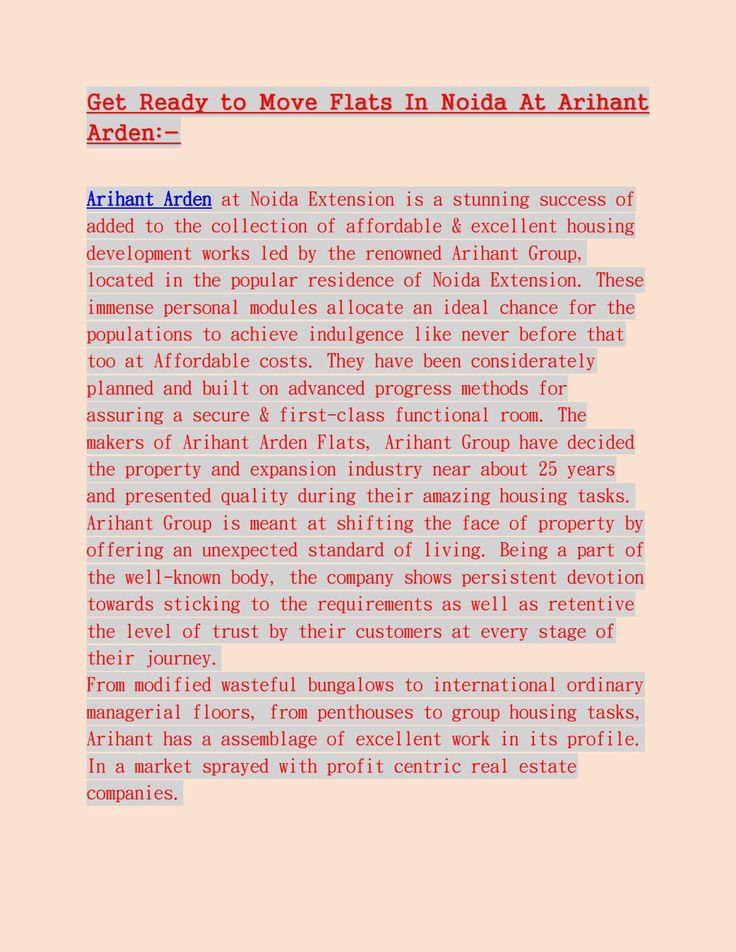 Book arihant arden residential venture at noida