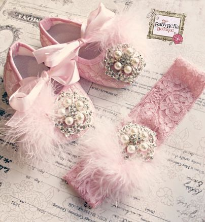 Baby Girl PINK Lace Crib Shoes and headband set, ,Baby Shoes,Christening, Baptism, Wedding