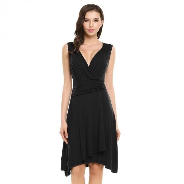 Women V-Neck Sleeveless Faux Wrap Ruched Waist Casual Party Dress