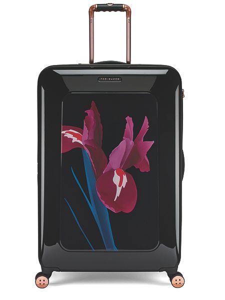 Stencilled stem 8 wheel hard large suitcase
