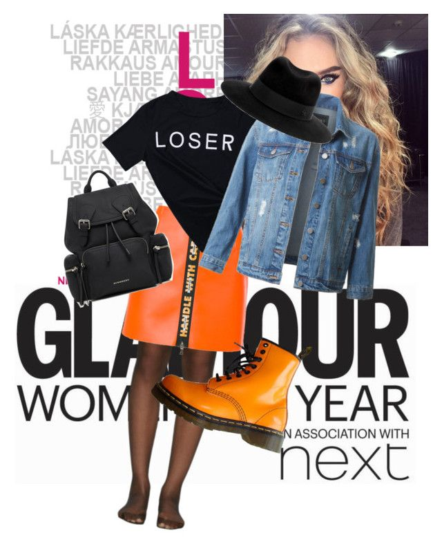 """""""Orange"""" by clarisa-pop on Polyvore featuring Goody, Wolford, Heron Preston, Dr. Martens, LE3NO, Burberry and Maison Michel"""