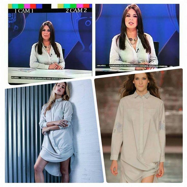 Ana Filipa Gomes wearing MEAM's grey long shirt