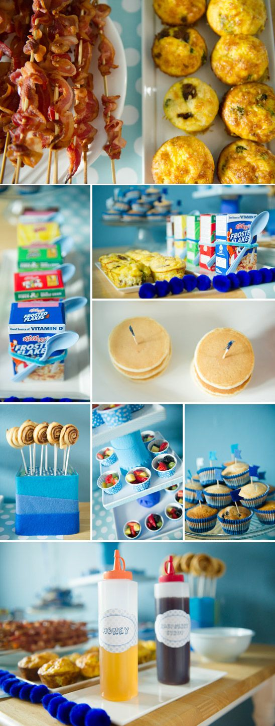 Blue Ombre Birthday Party- we are a long way off from  a 1st birthday but I still love the idea of a birthday brunch for the kids. How fun.-from ontobaby.com