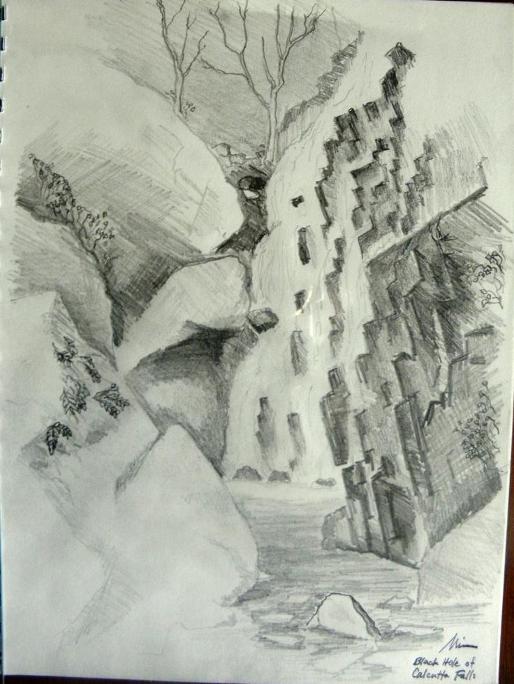 Black Hole of Calcutta Falls, Original Pencil Drawing by Michael Mitchell http://artbymichaelmitchell.blogspot.com/2013/03/black-hole-of-calcutta-falls.html