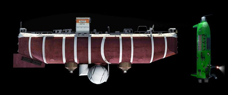 Image: Side-by-side comparison of the Trieste (left) and DEEPSEA CHALLENGER exteriors