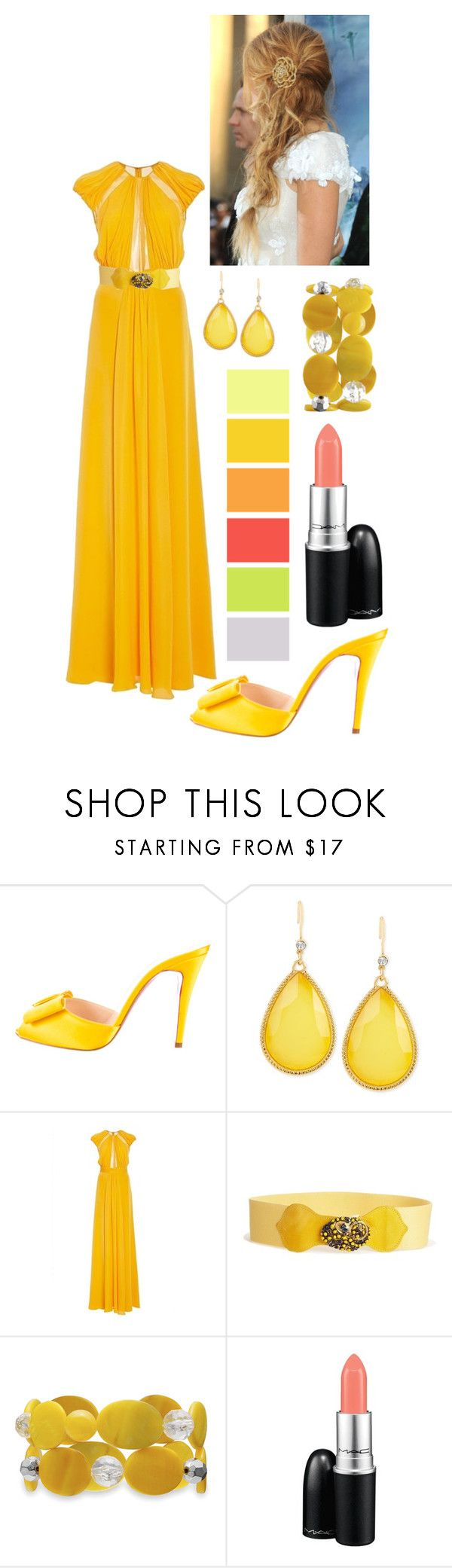 """""""Marigold Gown & Yellow Belt"""" by comorbid19 ❤ liked on Polyvore featuring Christian Louboutin, INC International Concepts, Cushnie Et Ochs, Black & Brown London, Mixit, MAC Cosmetics, women's clothing, women's fashion, women and female"""