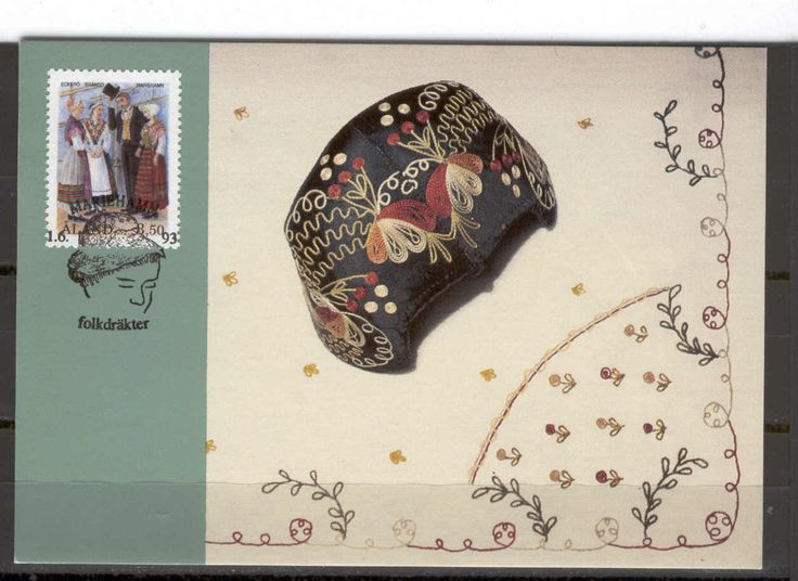Ålandic card with folk costumes and a bindmössa cap.