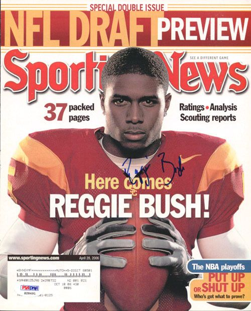 This is a Magazine Cover that has been hand signed by Reggie Bush. It has been authenticated by PSA/DNA and comes with their sticker and matching certificate. Please note: Any white spots that show up