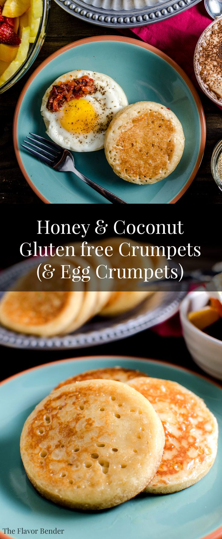 Gluten Free Coconut and Honey Crumpets with Eggs and Fruits! A perfect Spring breakfast with delicious crumpets with Eggs cooked right in! Lazy mornings with the ultimate crumpets and flavoured with #DominoHoneyGranules  #ad  @realdominosugar. Pin for later, or Click for the recipe.