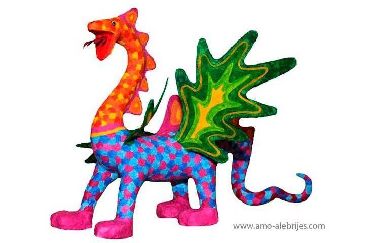 retratos de alebrijes dragón de cuatro alas