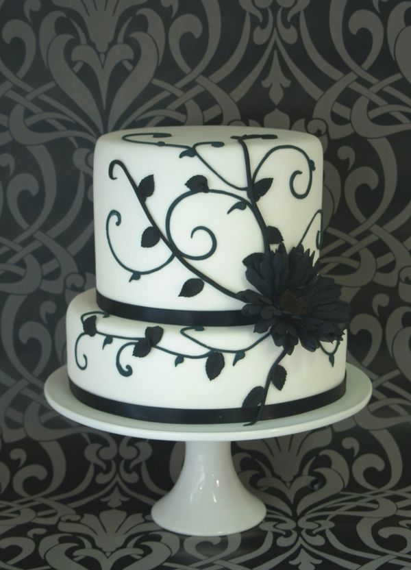 Cake... #Black #white #wedding ... Wedding #ideas for brides, grooms ...