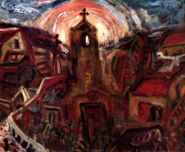 Imre Amos (Jewish-Hungarian:1907-1944) - 1937 Church at Szentendre (Private Collection)