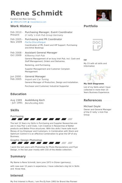 purchasing manager, event coordinator Ejemplo de currículum