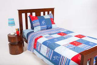 This fabulous patchwork Sportsmen coverlet from Cool Kids Rooms will brighten up your boy's bedroom.