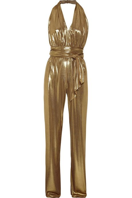 Halston Heritage Halterneck lamé jumpsuit    Halston Heritage jumpsuit has a V-neck, a cross-over front, an elasticated waist and a low-cut back. 92% polye
