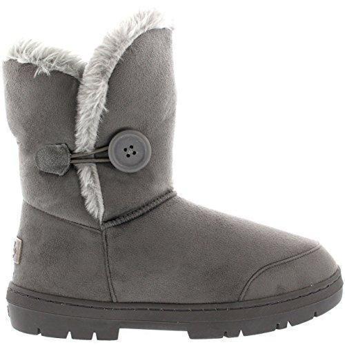 Oferta: 22.99€. Comprar Ofertas de Mujeres solo botón totalmente alineada botas piel a prueba de agua de lluvia de invierno la nieve - Gris - 8 barato. ¡Mira las ofertas!