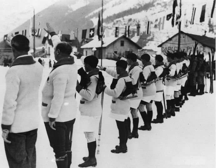 (1924; Chamonix, France) French athletes swear that they will conduct the Winter Olympic Games in a loyal way at the opening