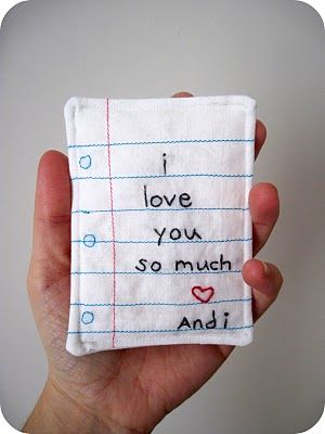 embroidered love notesCrafts Ideas, Cornflower Blue, Embroidered Note, Minis Dog Qu, Valentine Day, Gift Ideas, Cute Ideas, Hands Warmers, Pillows
