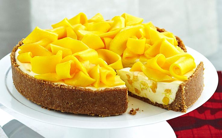 Mango and macadamia cheesecake