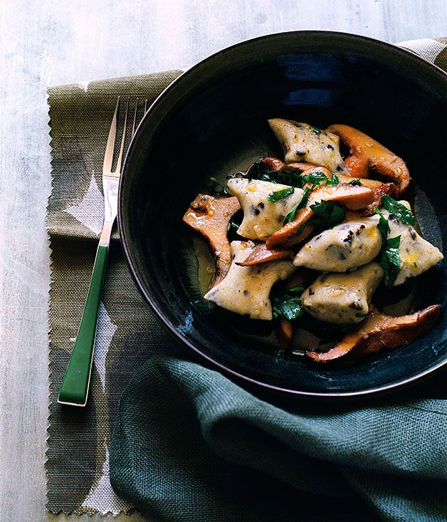 Australian Gourmet Traveller recipe for olive gnocchi with pine mushrooms