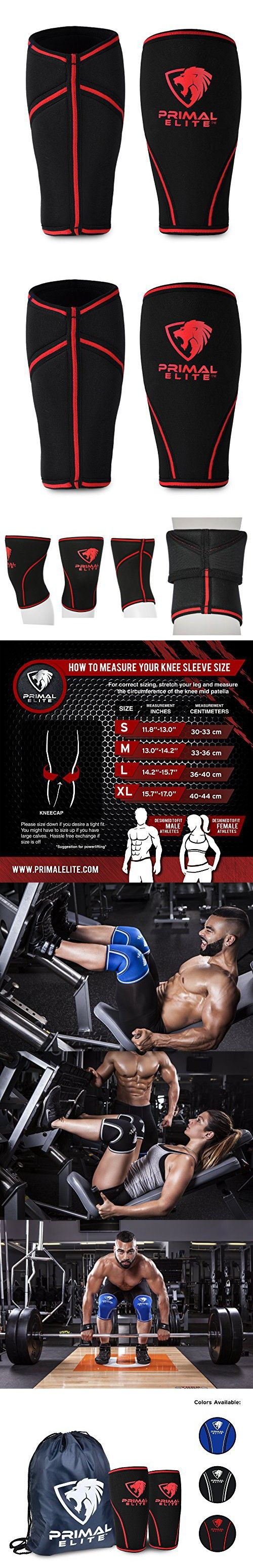 Knee Sleeves ( 1 Pair w/ bag ) Best Orthopedic Knee Support & Pain Compression Brace for Squats, Crossfit WOD, Weightlifting, Powerlifting - Primal Elite 5mm and 7mm Strong Knee Sleeves - Unisex