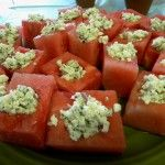 Watermelon bowls filled with feta and shallots and mint: Rabbit Bday, Peter O'Toole, Watermelon Bowls, Decor Ideas, Parties Drinks, Horses D Oeuvres, Bowls Fillings, Peter Rabbit Party, Peter Rabbit Parties