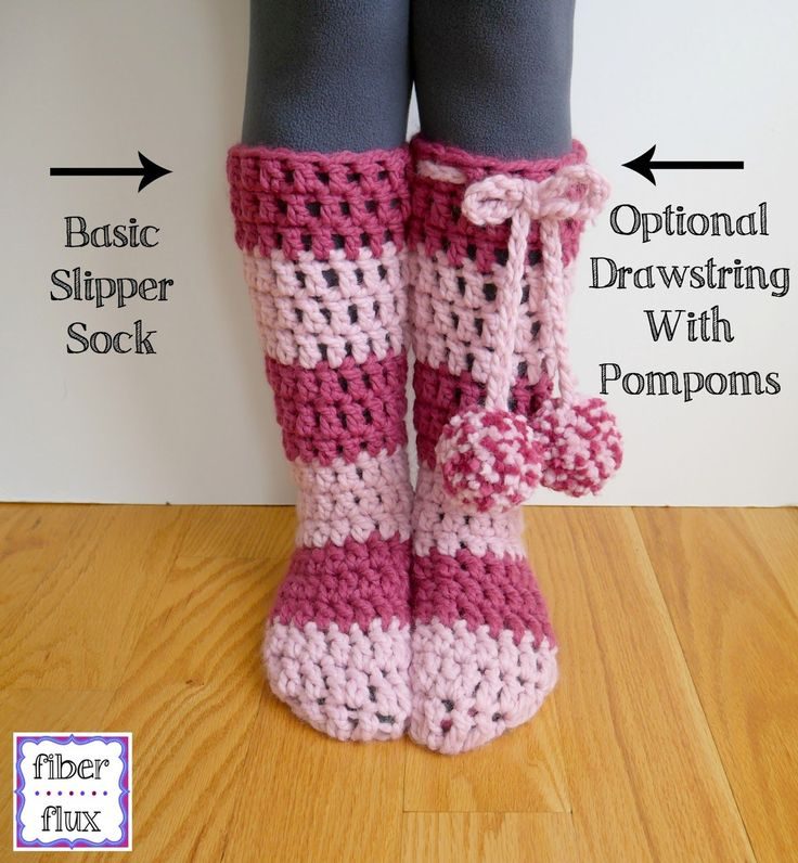 "The Strawberry Blossom Slipper Socks are soft, lofty, and extra cozy for toasty feet and legs. An easy to construct ""tube"" sock is finished off with an extra (optional) drawstring and fun pompoms. ..."
