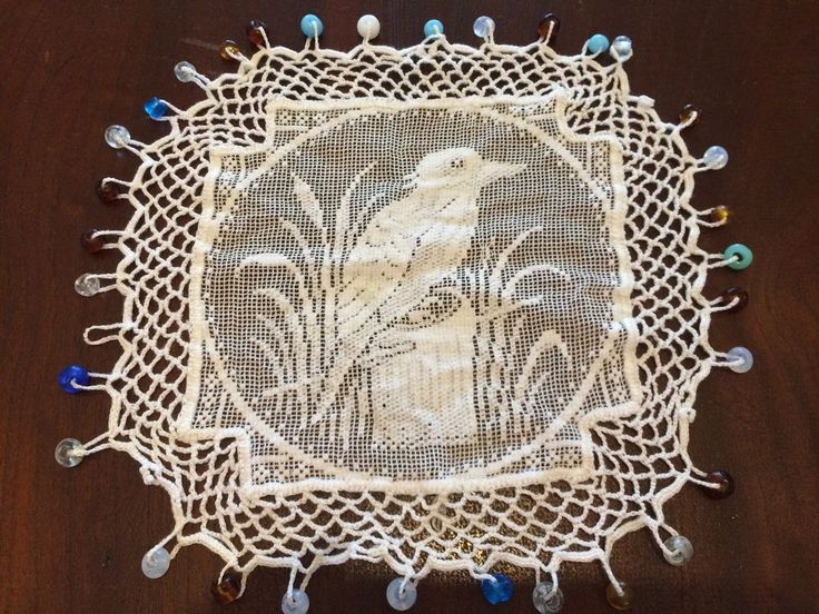 ANTIQUE VINTAGE BEADED JUG COVER WHITE LACE CROCHET KOOKABURRA  GLASS BEADS