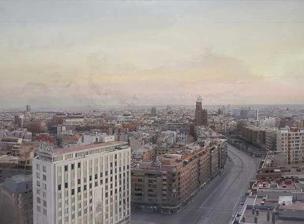 Madrid desde Torres Blancas, fue subastada el 30/06/2008 en Londres por 1,8 millones de euros, lo que le convierte en el artista español vivo de mayor cotización. Con el imponente paisaje urbano Madrid desde Torres Blancas