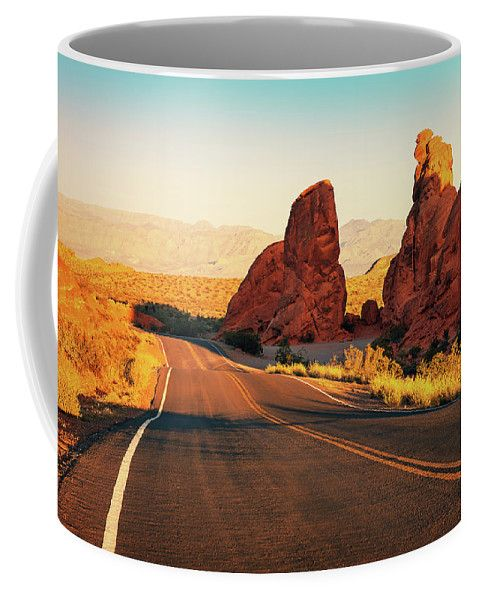 Coffee Mug featuring the photograph Red Sunset Over Road by Evgeniya Lystsova. Coffee time, Kitchen, Gift, Home and Office products. Our ceramic coffee mugs are available in two sizes: 11 oz. and 15 oz. Each mug is dishwasher and microwave safe. SHIPS WITHIN 1 -2 business days