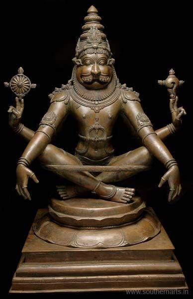 YOGA NARASIMHA : Lord Vishnu in his man-lion avatar in a yoga position