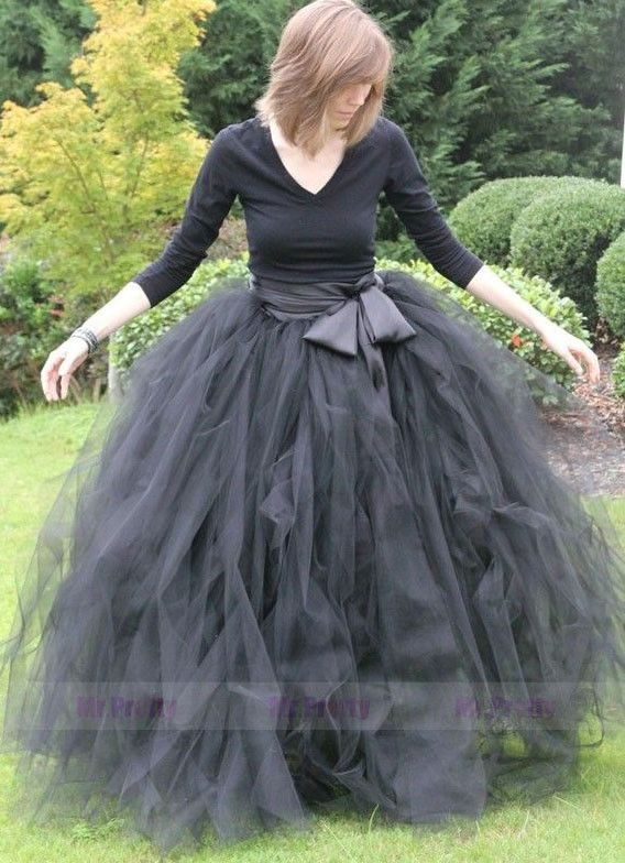 Handmade Black Tulle Long Skirt/Maxi Wedding Party Bridsmaid Formal Skirts Plus #Handmade #Maxi
