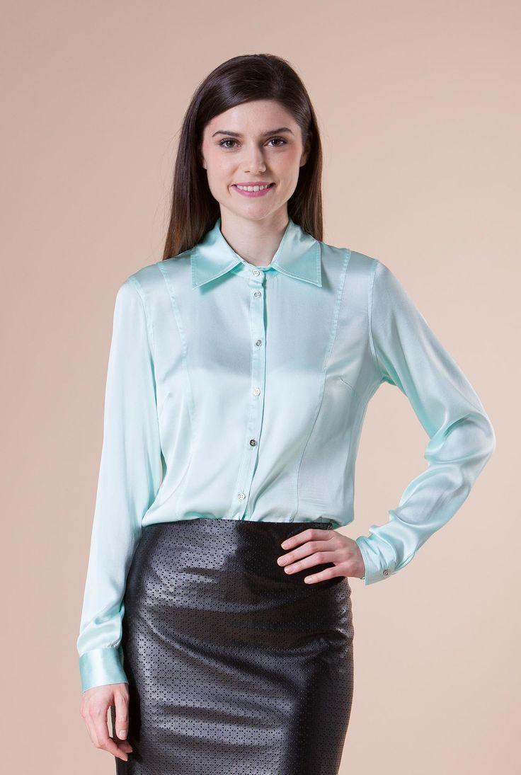 Camasa turquoise din matase VIBE de la Ama Fashion