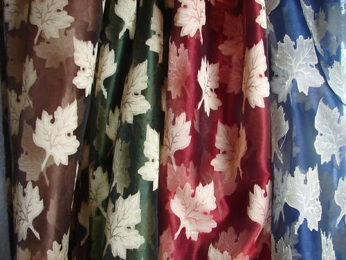 Blue red green brown silk curtain panel sheer drapes 84″ new hand loom indian