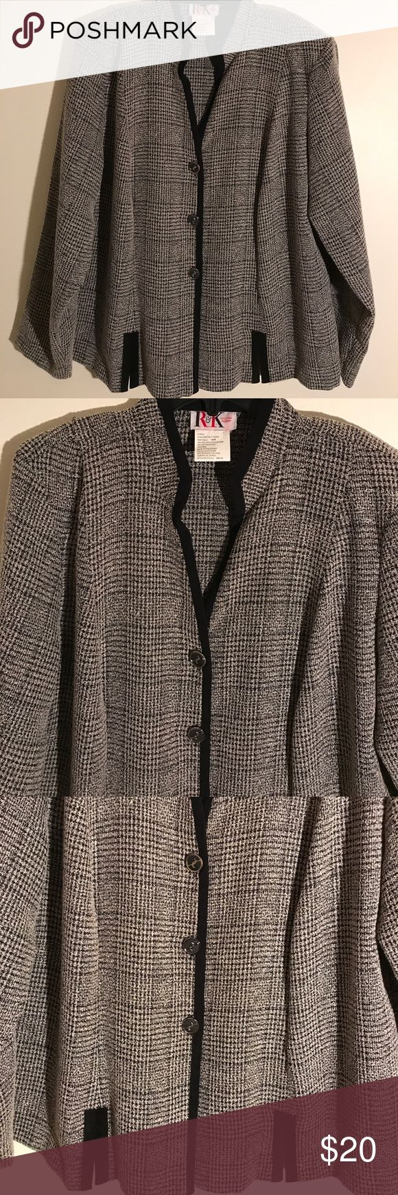 R & K Stunning Blazer EXCELLENT CONDITION NO FLAWS!Details, measurements and modeling photos coming Monday . If you're interested and need to know, please message me.YOU CAN CHOOSE TO PURCHASE ONLY 1 ITEM, BUT YOU CAN ONLY PURCHASE UP TO 3 ITEMS PER ORDER. OR YOUR ORDER WILL BE CANCELLED. R & K Jackets & Coats Blazers