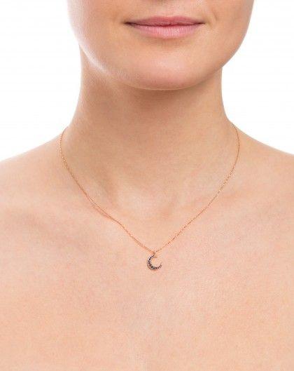Sapphire Set Crescent Moon Necklace