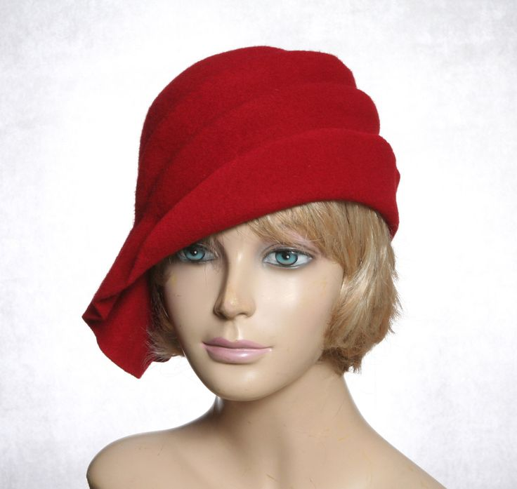 Ava, Wool Felt Cloche with side draped pleats, color Red, millinery hat by LuminataCo on Etsy