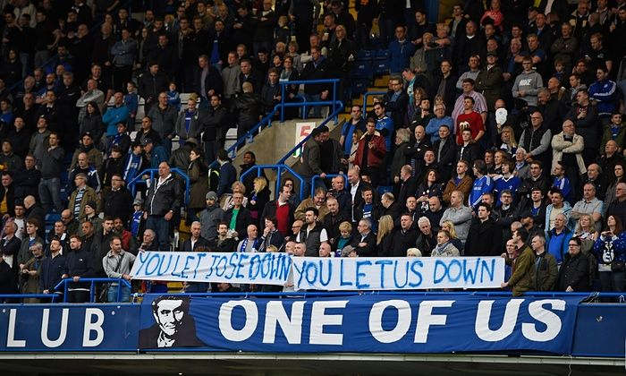 Dec.19th. 2015: a banner  blaming Chelsea players for Mourinho's sacking at Stamford Bridge.