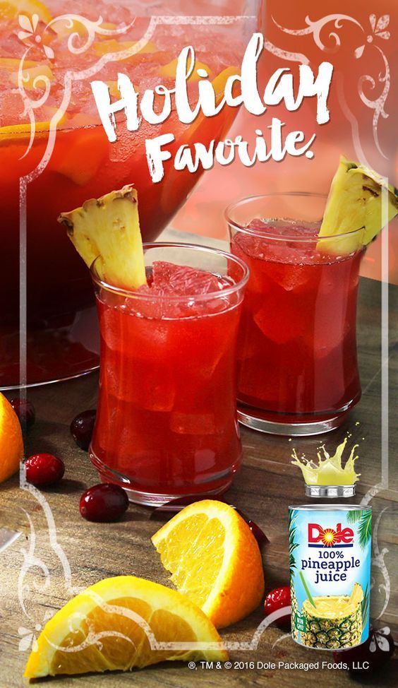 Get the Holidays started with this HOLIDAY PUNCH recipe made with DOLE® Canned 100% Pineapple Juice. #KINGofJUICES
