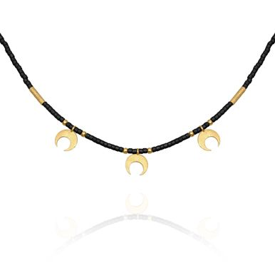 TEMPLE OF THE SUN JEWELLERY BYRON BAY - Seed Bead Necklace with Gold Moon Matt Black, $119.00 (http://www.templeofthesun.com.au/seed-bead-necklace-with-gold-moon-matt-black/)