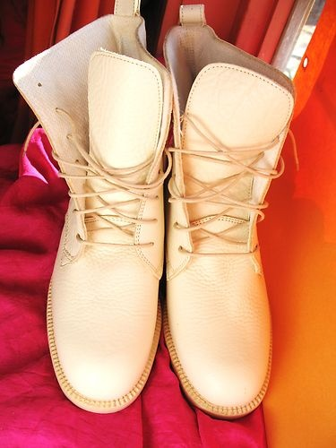 BRONX SHOES LACE UP WHITE LEATHER BOOTS !SIZE 7,5/38 M ! MADE IN ITALY!