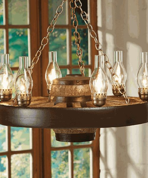 Wagon Wheel Chandelier Wagon Wheel Chandelier: Create a welcoming glow with the Small Wagon Wheel Chandelier, featuring a reproduction wagon wheel with classic chimney lights for Old West style.
