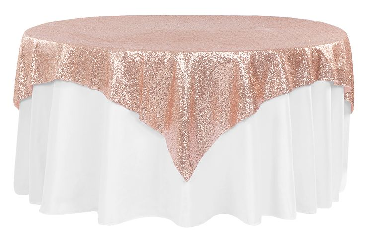 "Glitz+Sequin+Table+Overlay+Topper+72""x72""+Square++-+Blush/Rose+Gold"